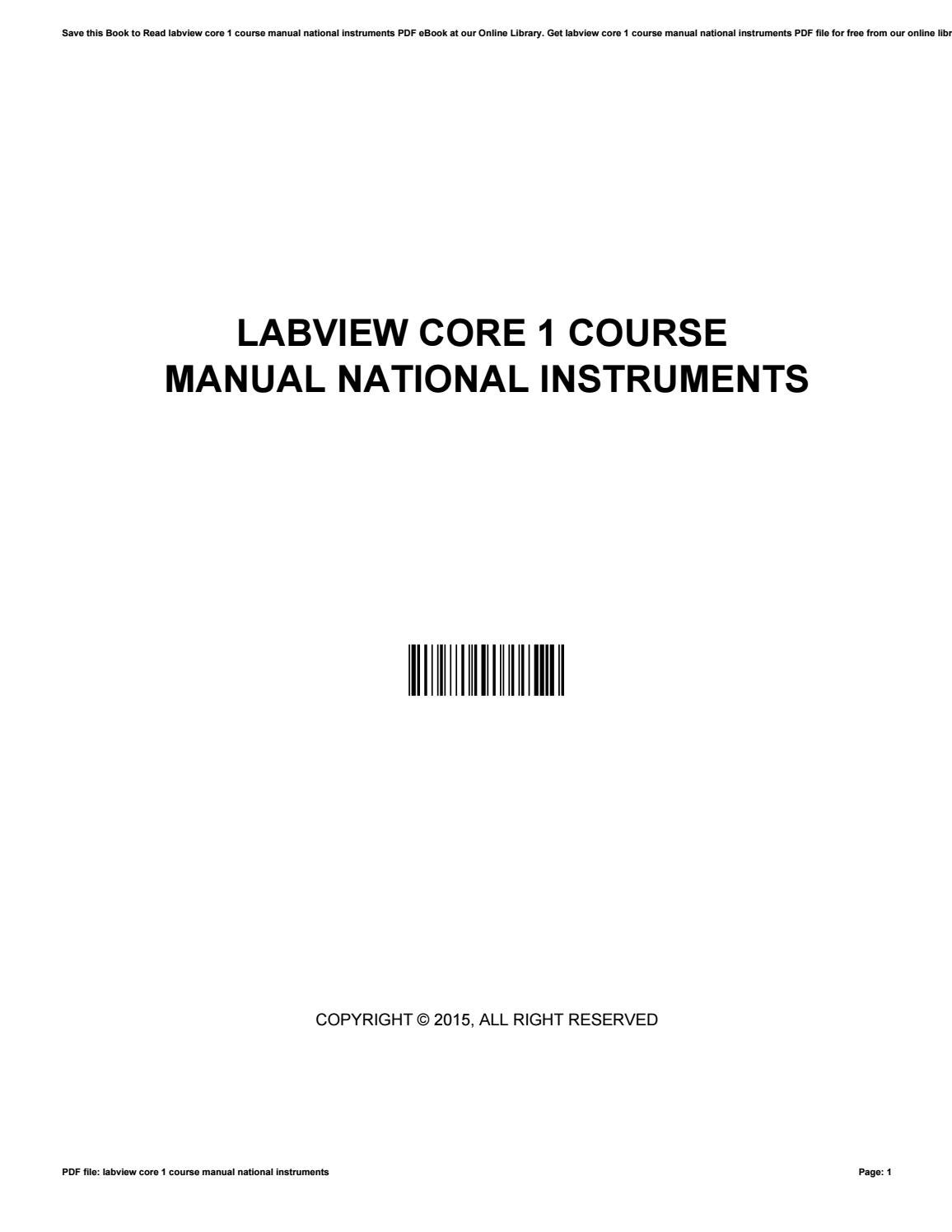 Labview core 1 course manual national instruments by