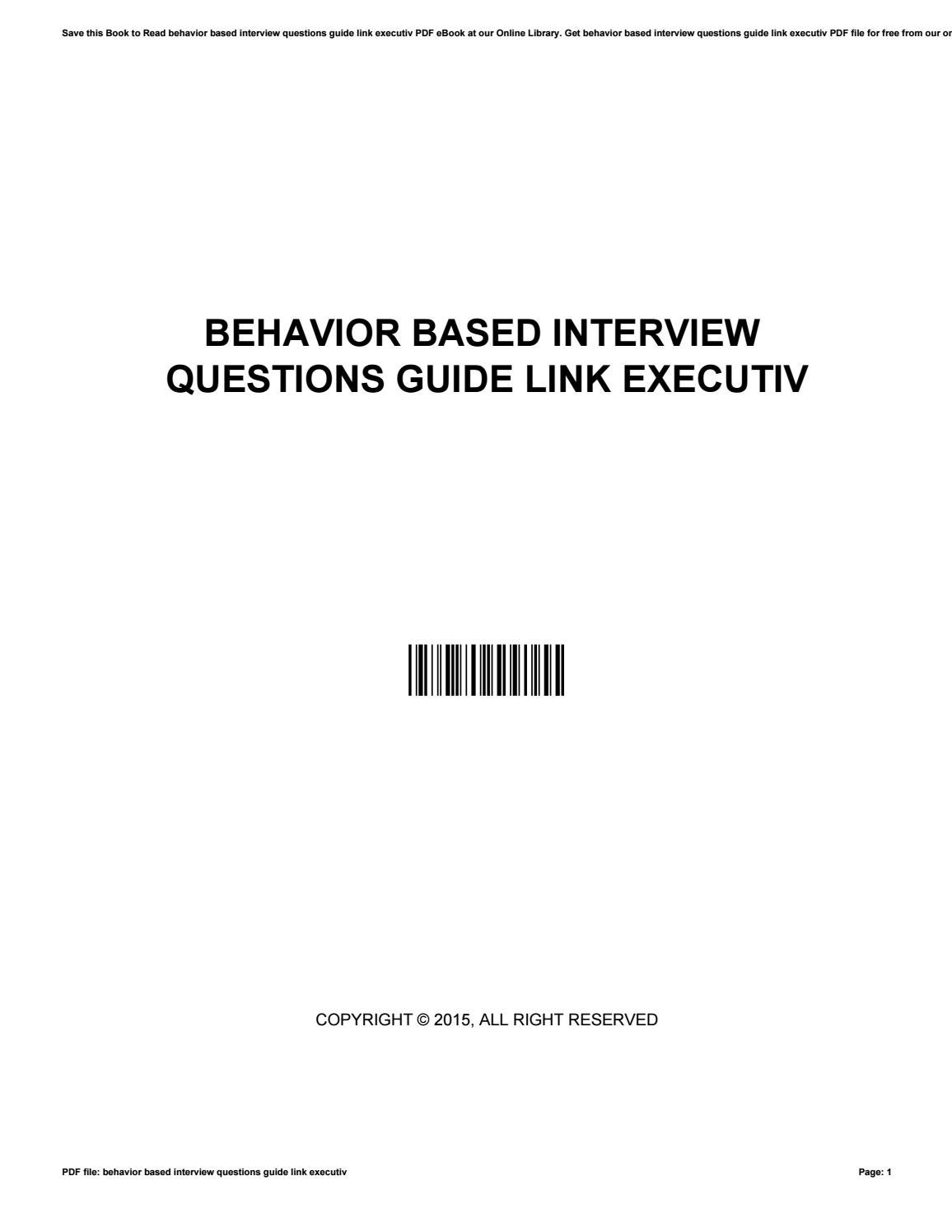 behavior based interview questions