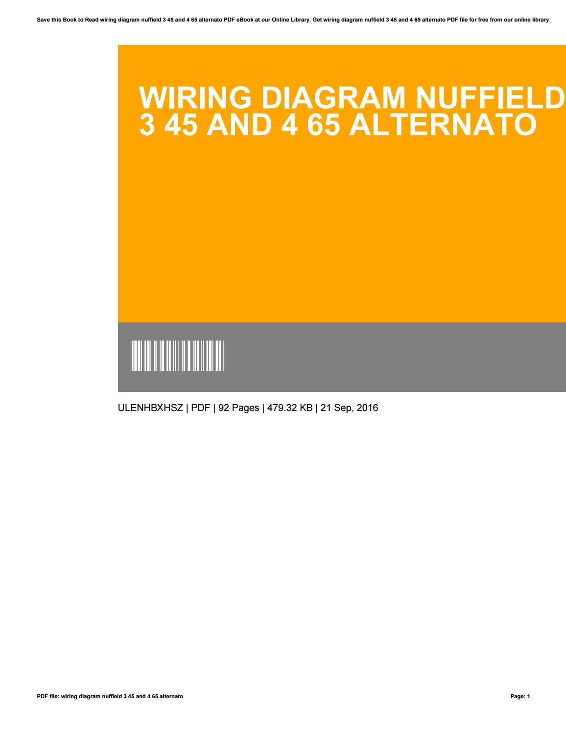 Wiring Diagram Nuffield 3 45 And 4 65 Alternato By Gregorythomas3649 Complete Book Pdf Issuu