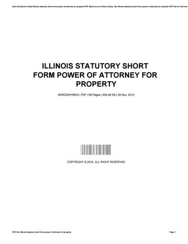 Illinois Statutory Short Form Power Of Attorney For Property By