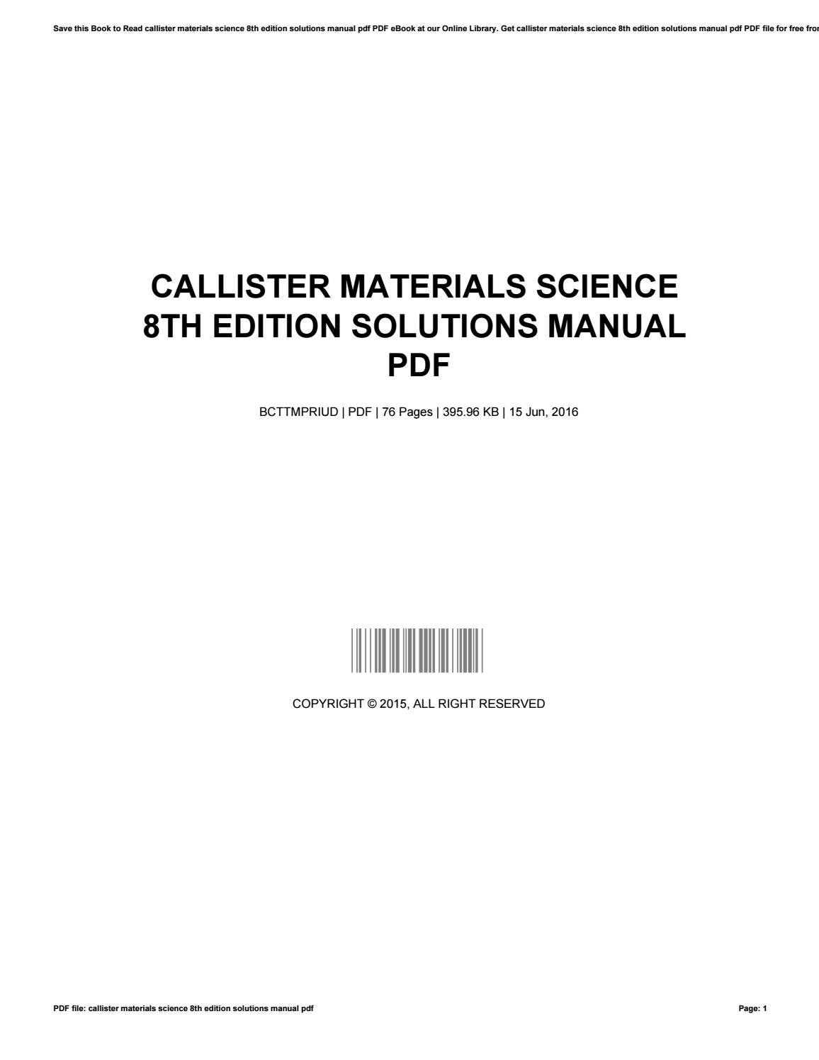 Callister materials science 8th edition solutions manual pdf by  JamesGidney4841 - issuu
