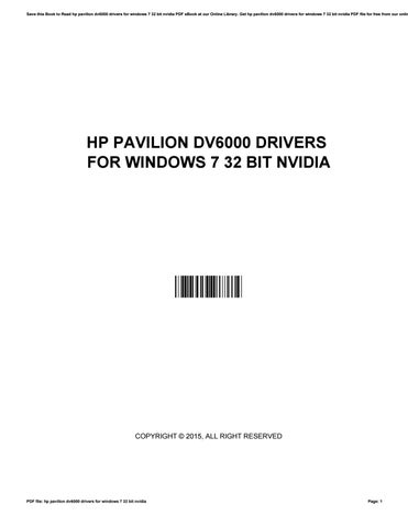 hp pavilion dv6000 vga drivers for windows 7 free download