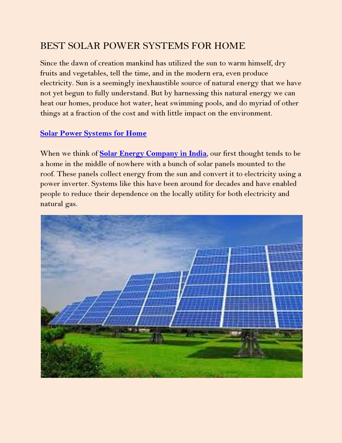 Best solar power systems for home by rayspowerinfra - issuu