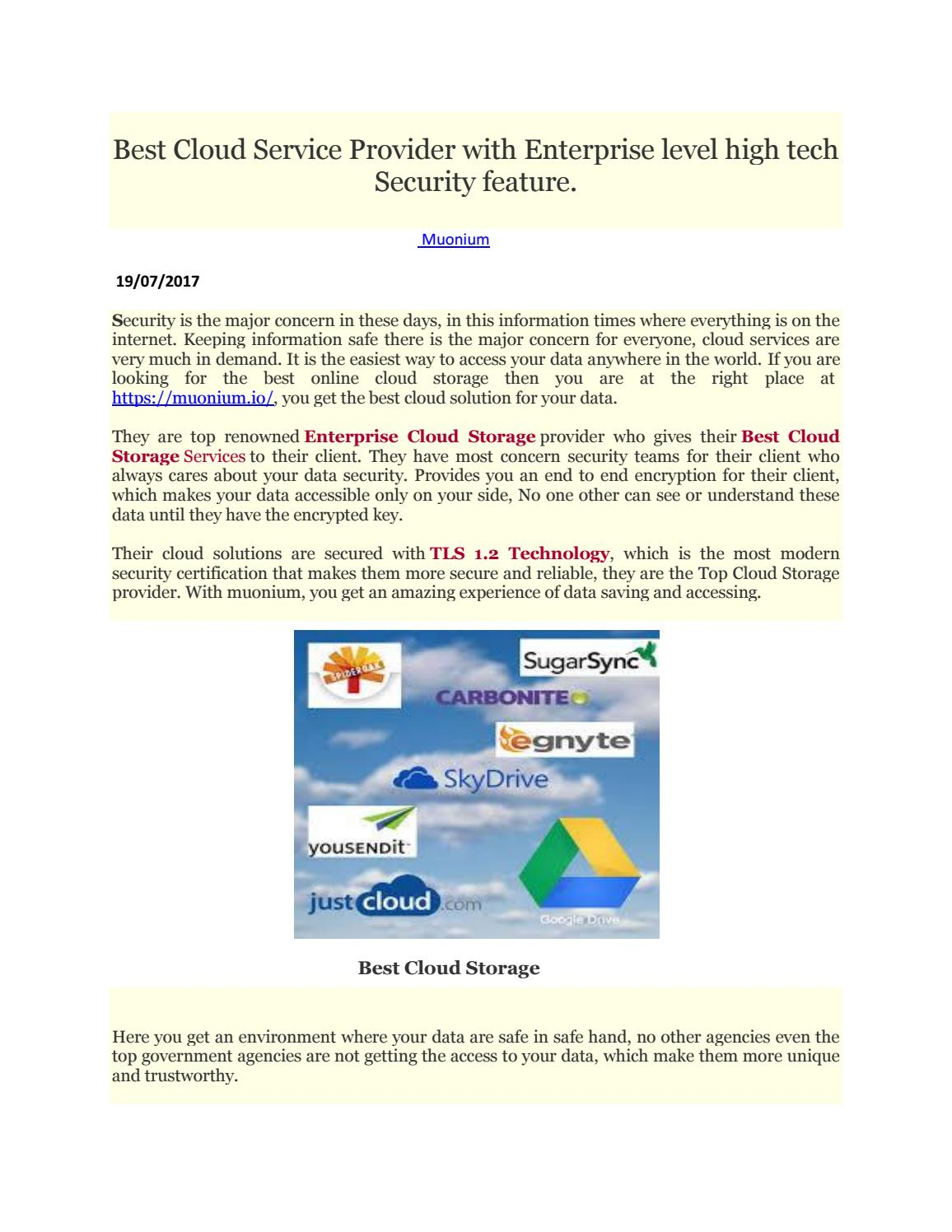 Best Cloud Service Provider With Enterprise Level High Tech Security Feature By Muonium Io Issuu