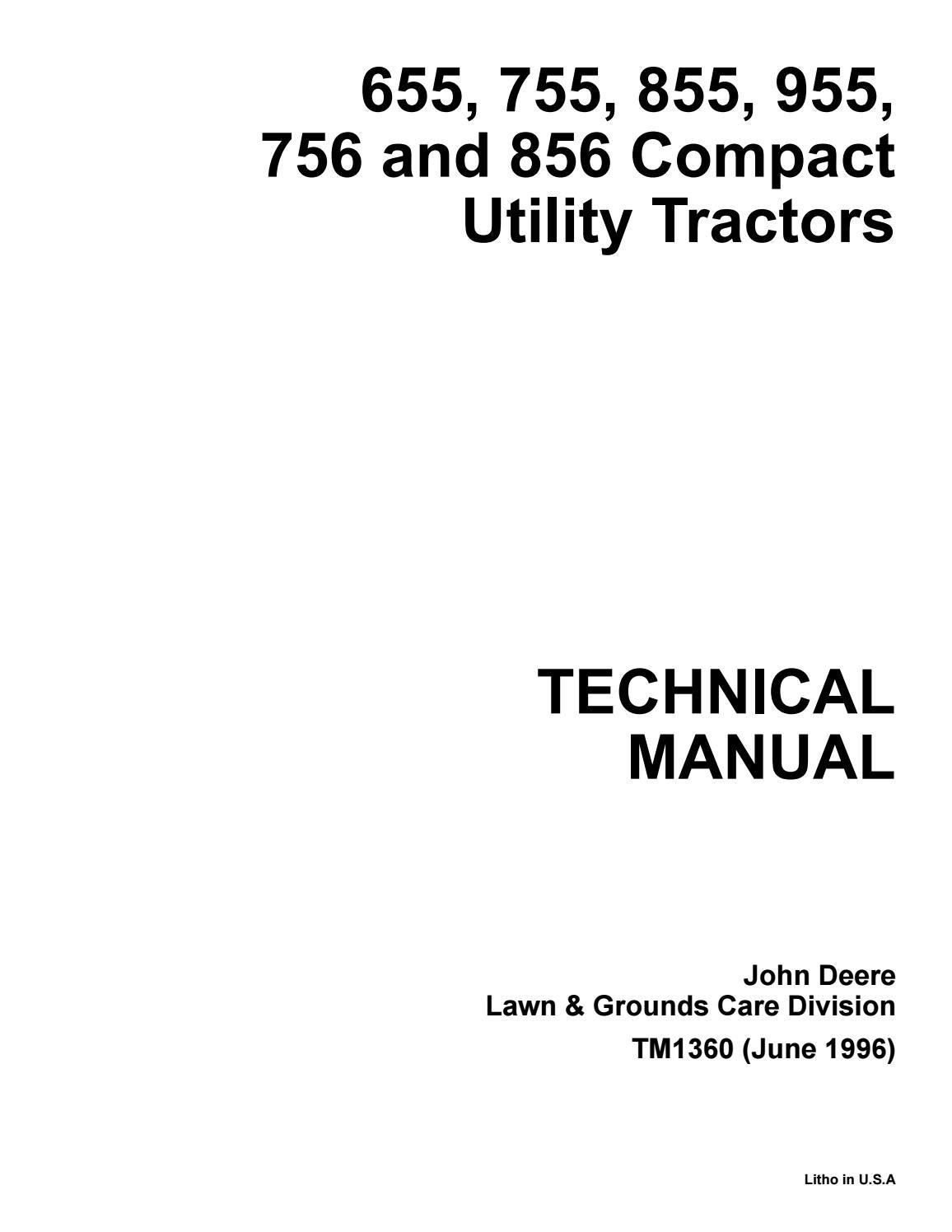John Deere 655 755 855 955 756 856 Compact Utility Tractor