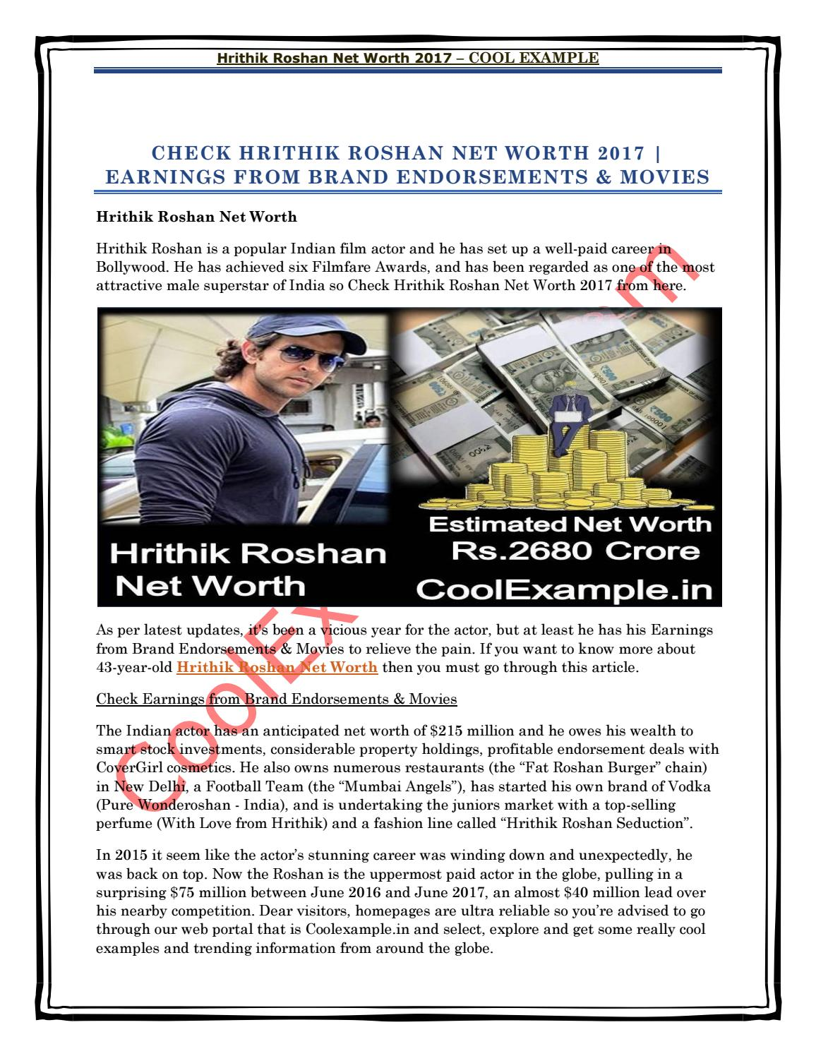 Hrithik roshan net worth by Cool Example - issuu