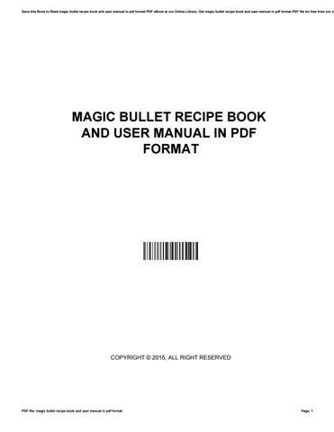 magic bullet mb1001 user manual