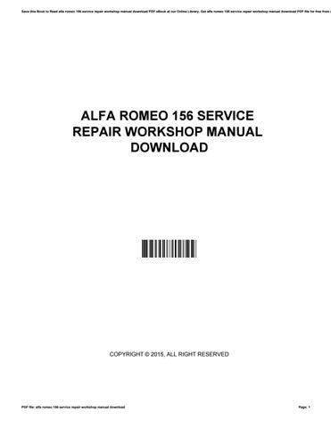 alfa romeo 156 workshop manual free download