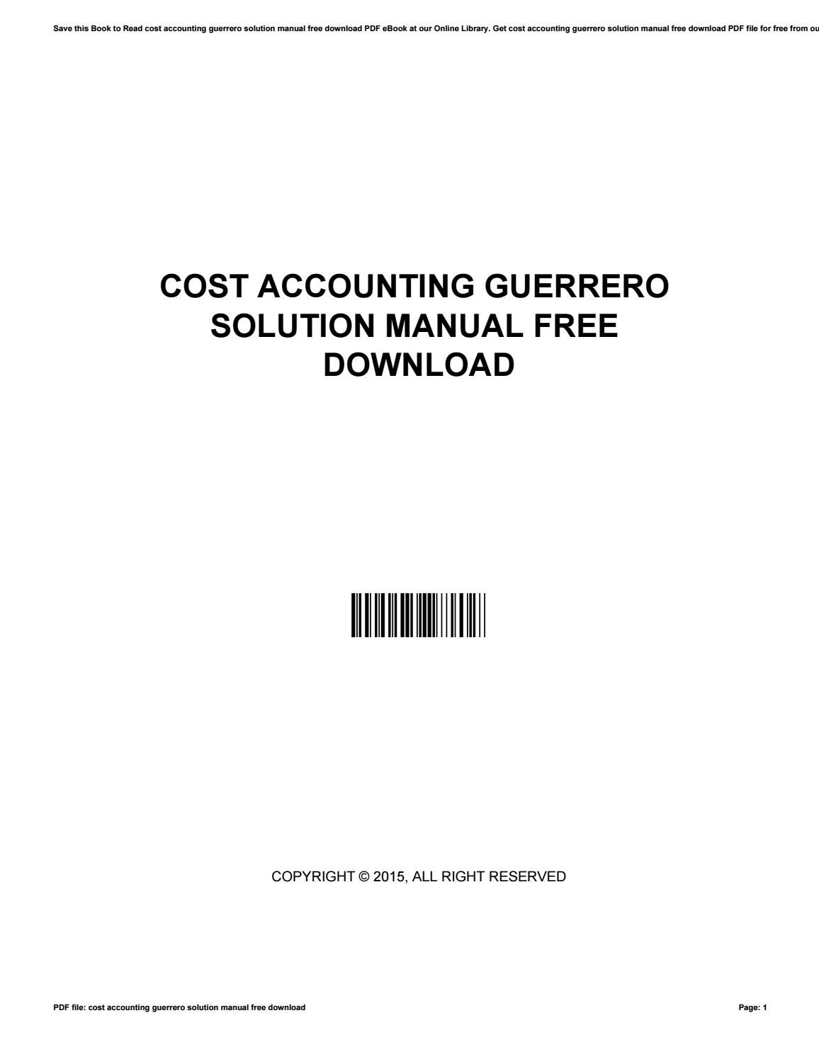 Cost accounting guerrero solution manual free download by HaroldLinden2744  - issuu