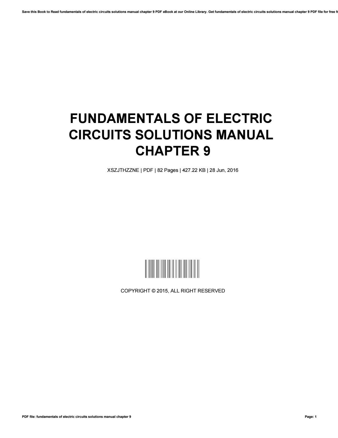 Fundamentals of electric circuits solutions manual chapter 9 by  HaroldLinden2744 - issuu