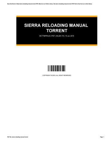 Sierra Reloading Manual Pdf