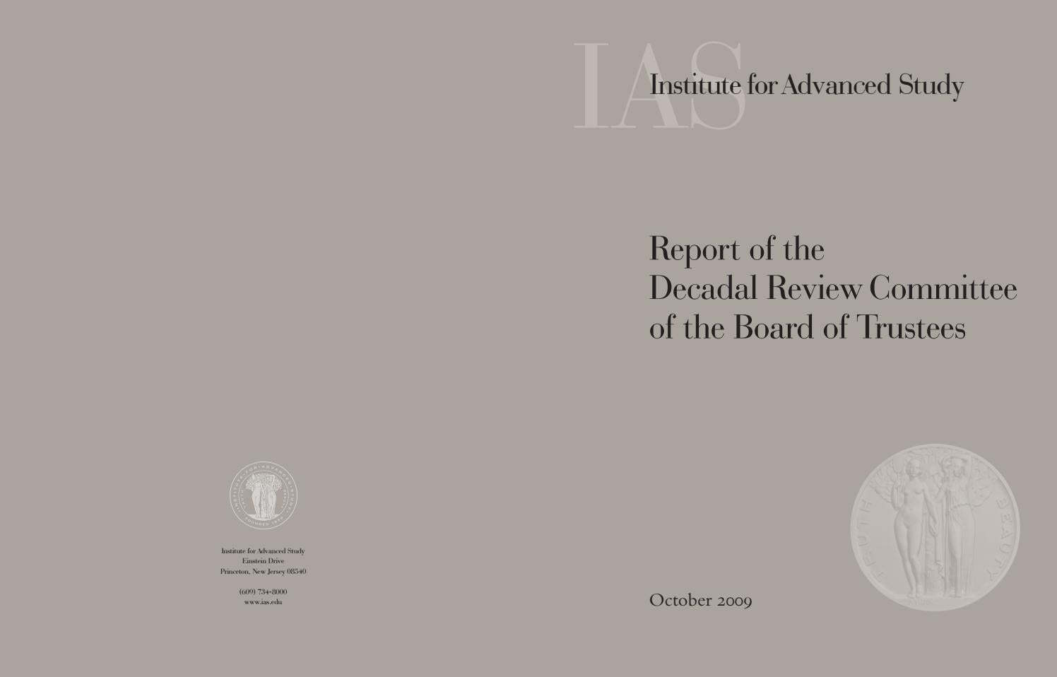Report of the Decadal Review Committee of the Board of Trustees
