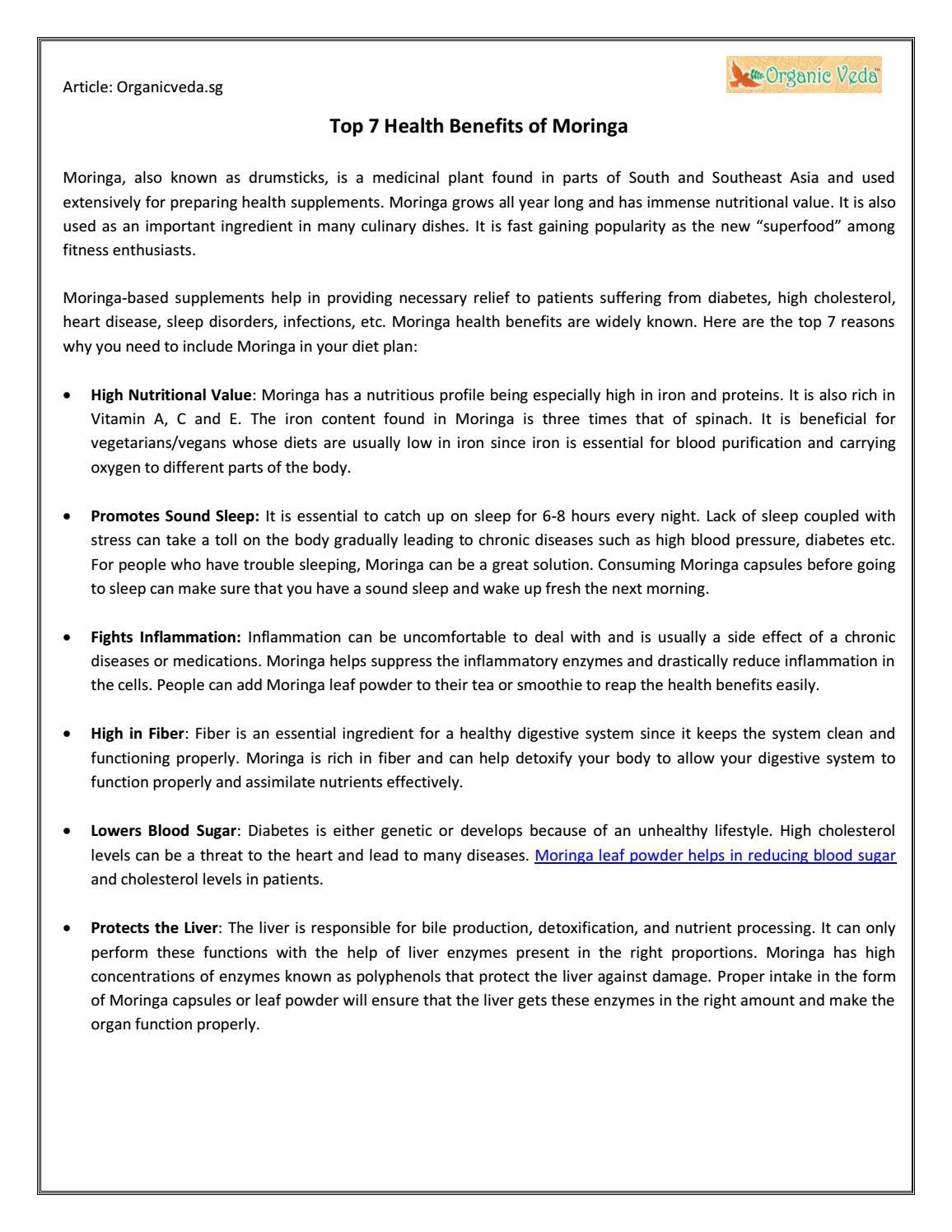 Top 7 health benefits of moringa