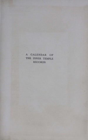 Calender Of Inner Temple Records Vol 4 1714 1750 By The Inner Temple