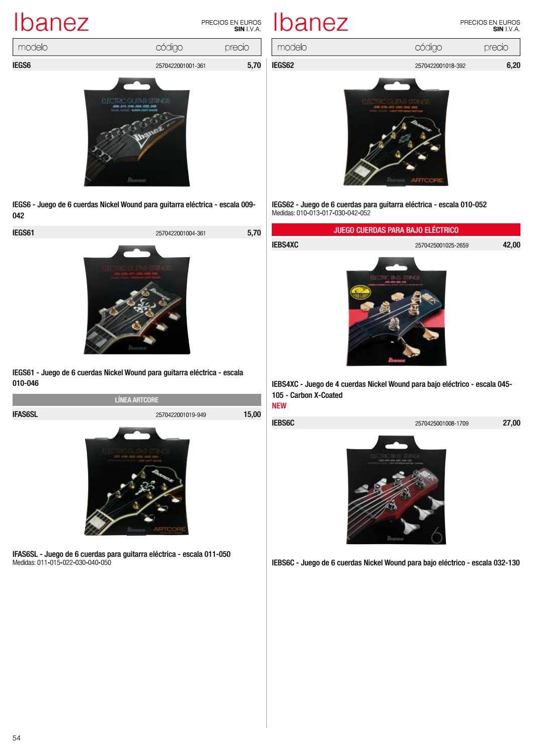 Juego cuerdas para guitarra el/éctrica Ibanez IEGS6