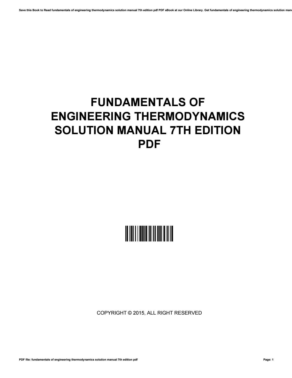 Fundamentals of engineering thermodynamics solution manual 7th edition pdf  by MichealTate3821 - issuu