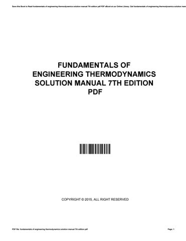 Fundamentals Of Engineering Thermodynamics Solution Manual 7th Edition Pdf By Michealtate3821 Issuu