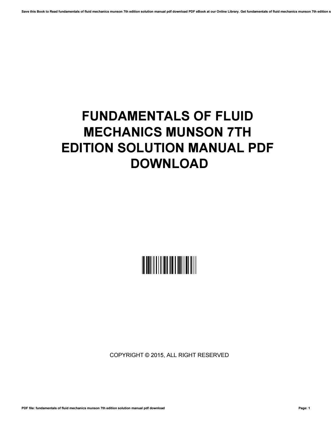 Fundamentals of fluid mechanics munson 7th edition solution manual pdf  download by MichealTate3821 - issuu