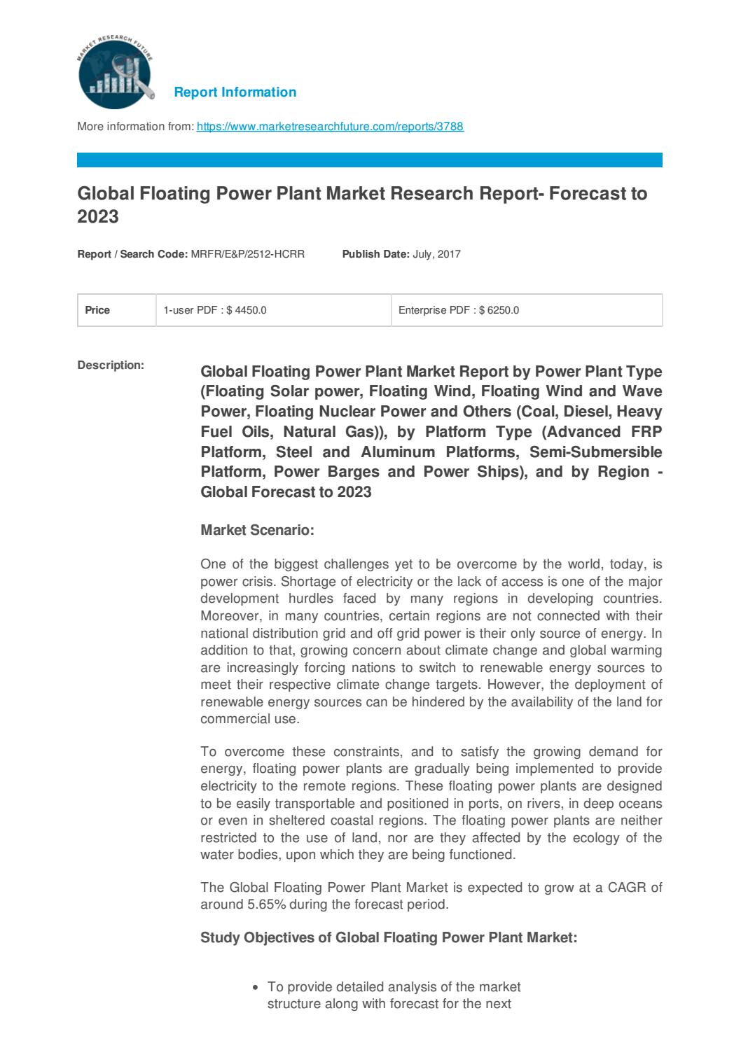 Global floating power plant market research report forecast