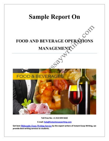 Food and Beverage Control&nbspTerm Paper