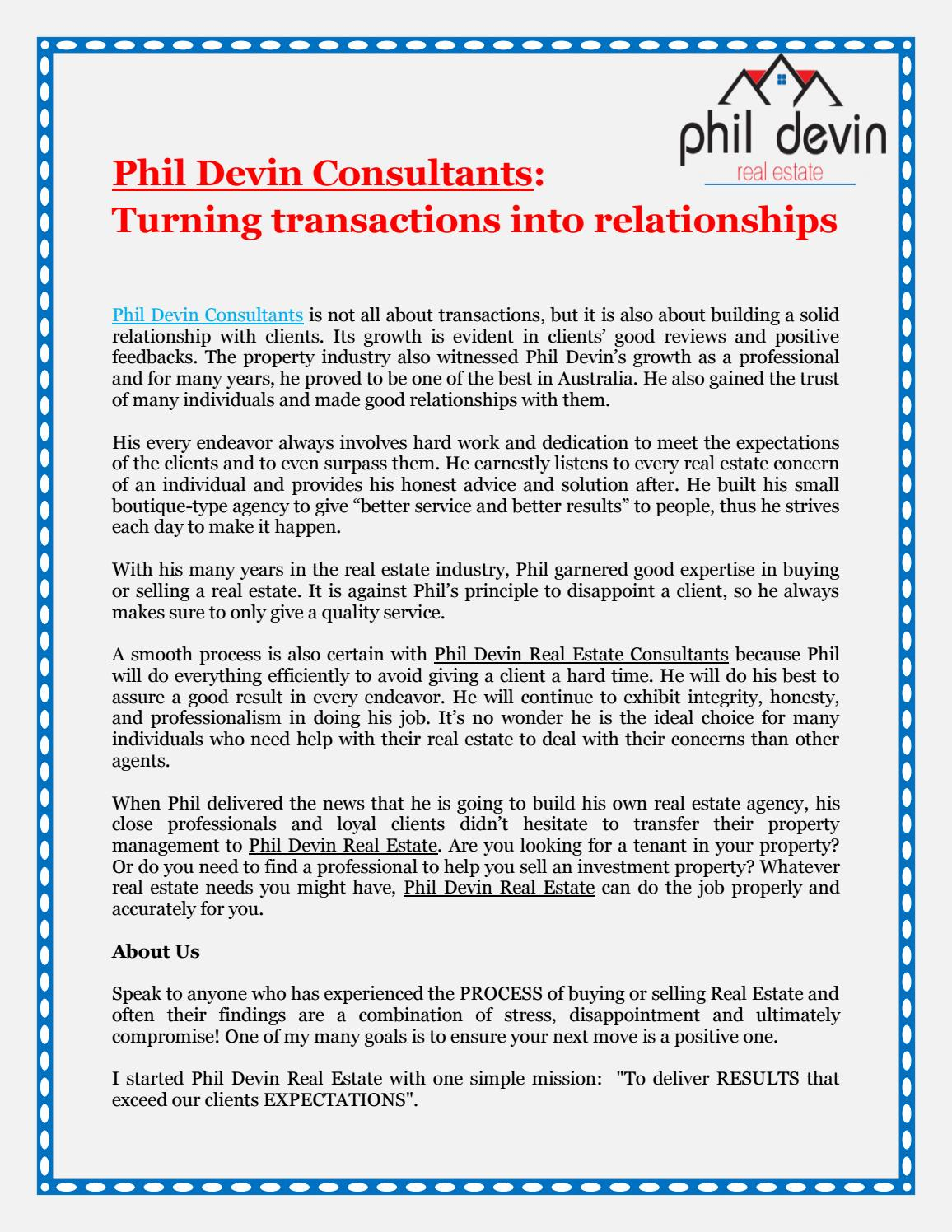 Phil Devin Consultants: Turning transactions into