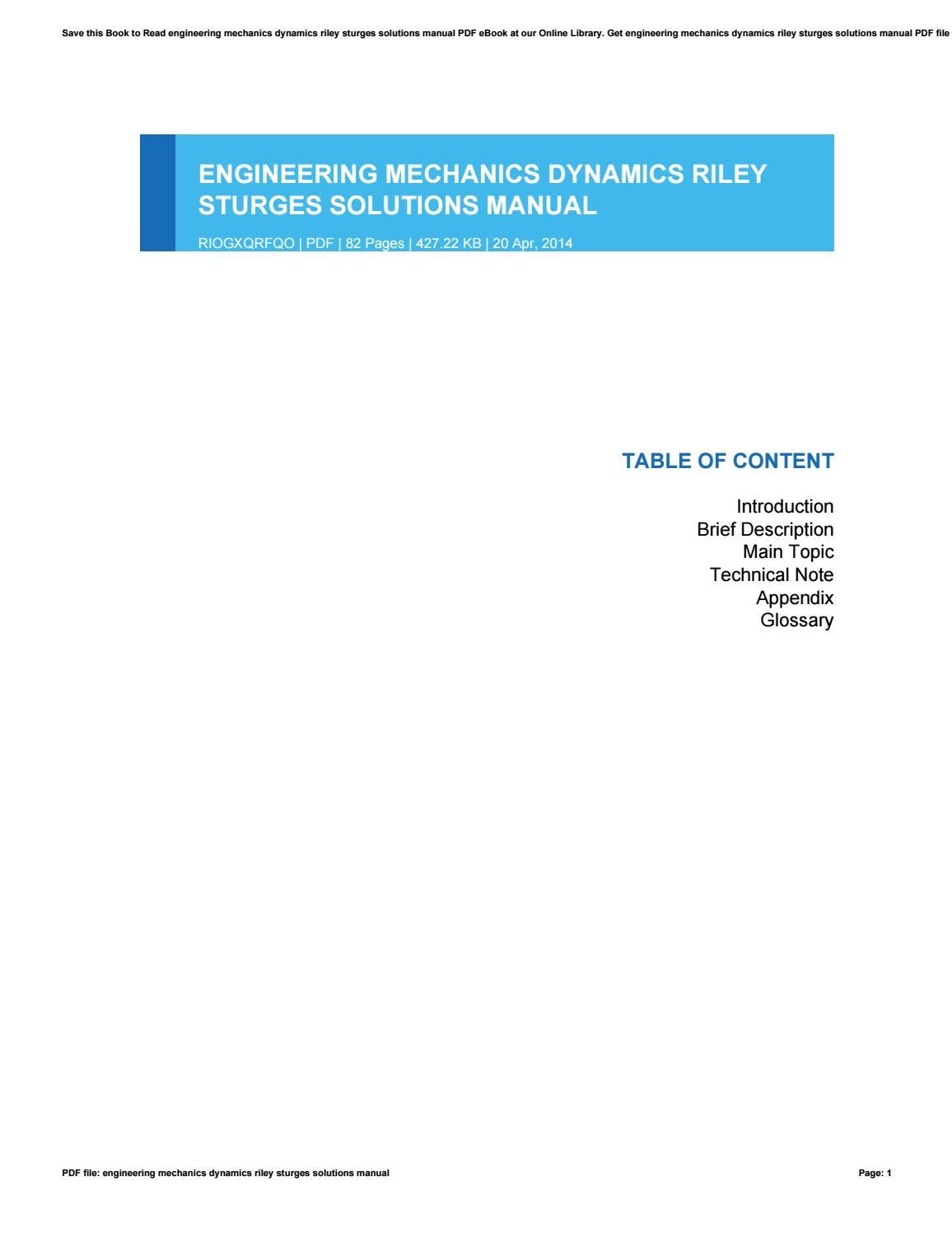 Engineering mechanics dynamics riley sturges solutions manual by  GeraldineMcKinney3824 - issuu