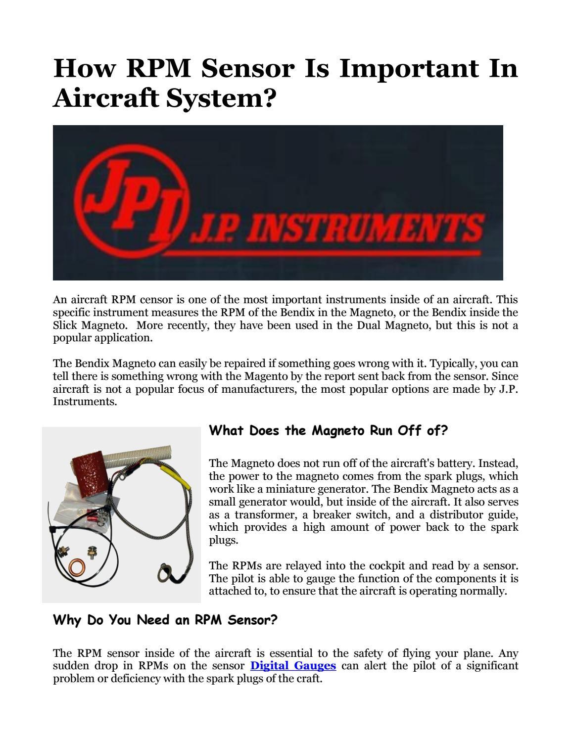 How rpm sensoris importantin aircraft system by J P
