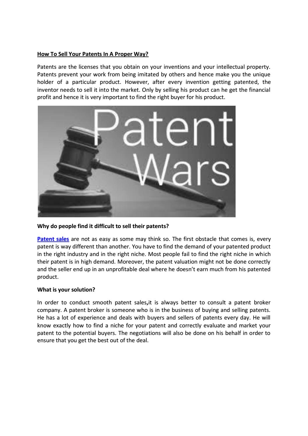 How to Sell a Patent recommendations