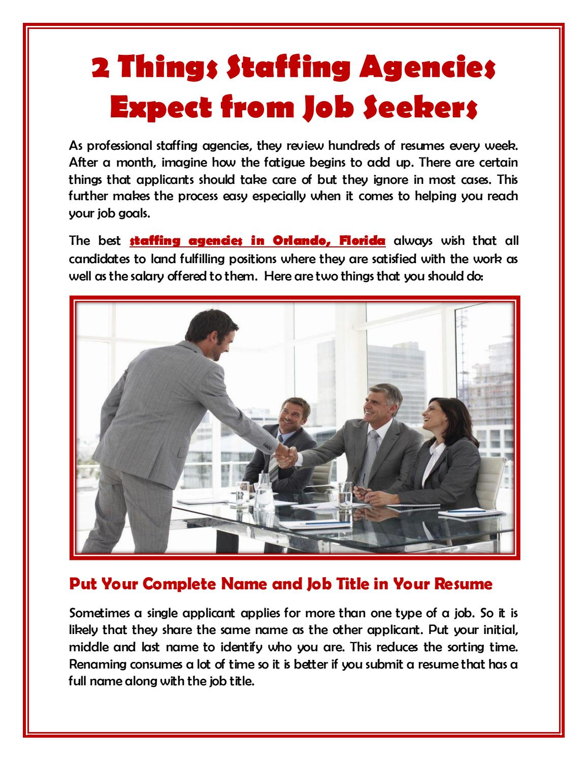 2 Things Staffing Agencies Expect from Job Seekers by Moten Tate Inc ...