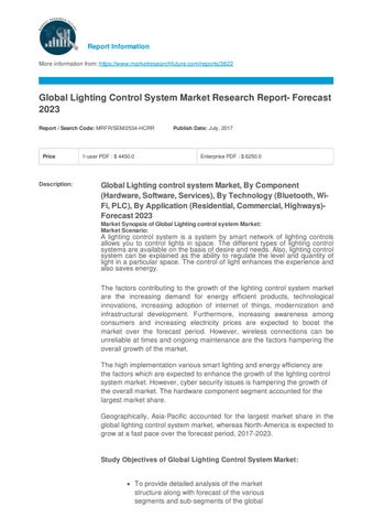 Light controlling system market outlook and forecast 2023