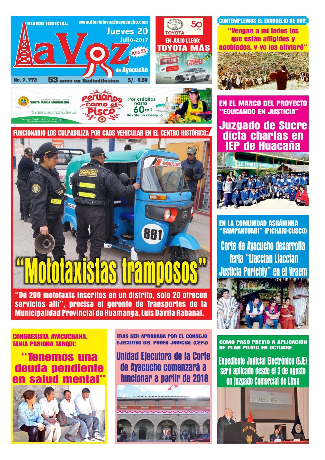 Edicion J 7772 Jueves 20 Julio 2017 By Diario La Voz De Ayacucho