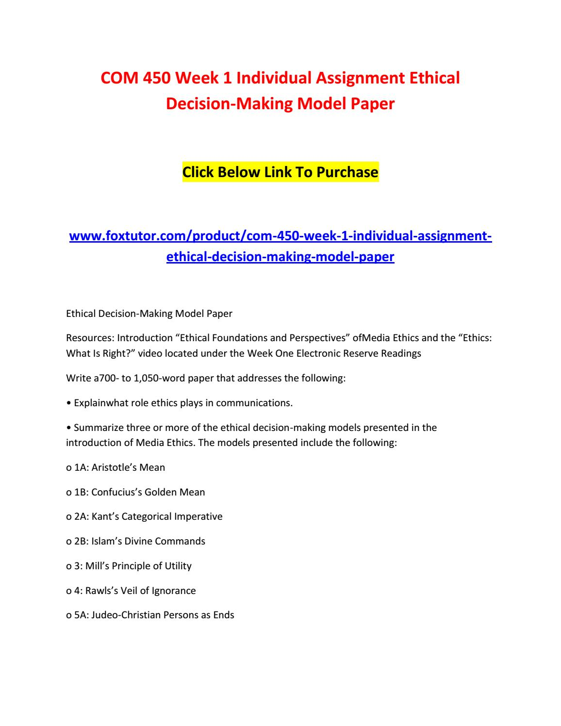 Com 450 week 1 individual assignment ethical decision making