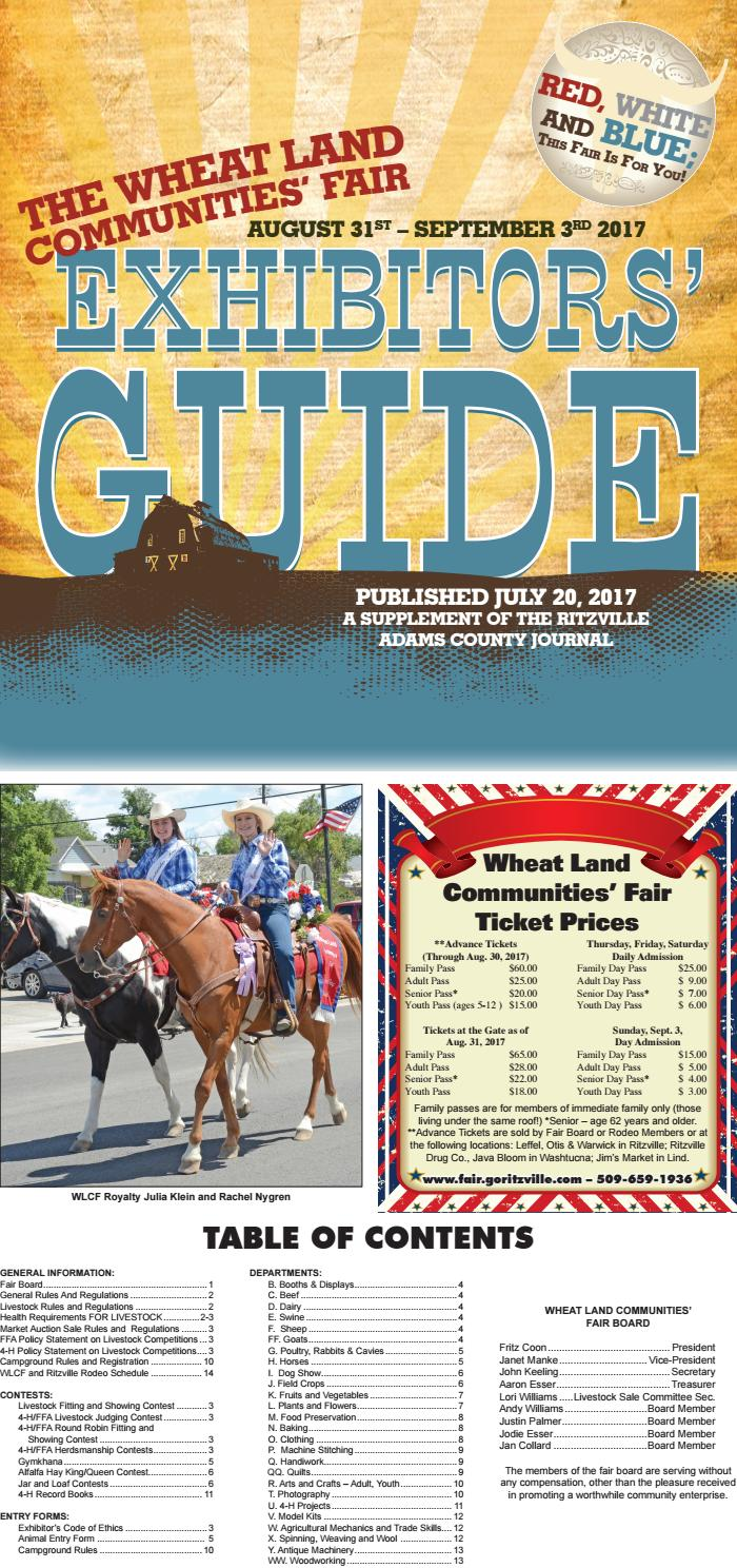 2017 Wheat Land Communities' Fair Exhibitors' Guide by