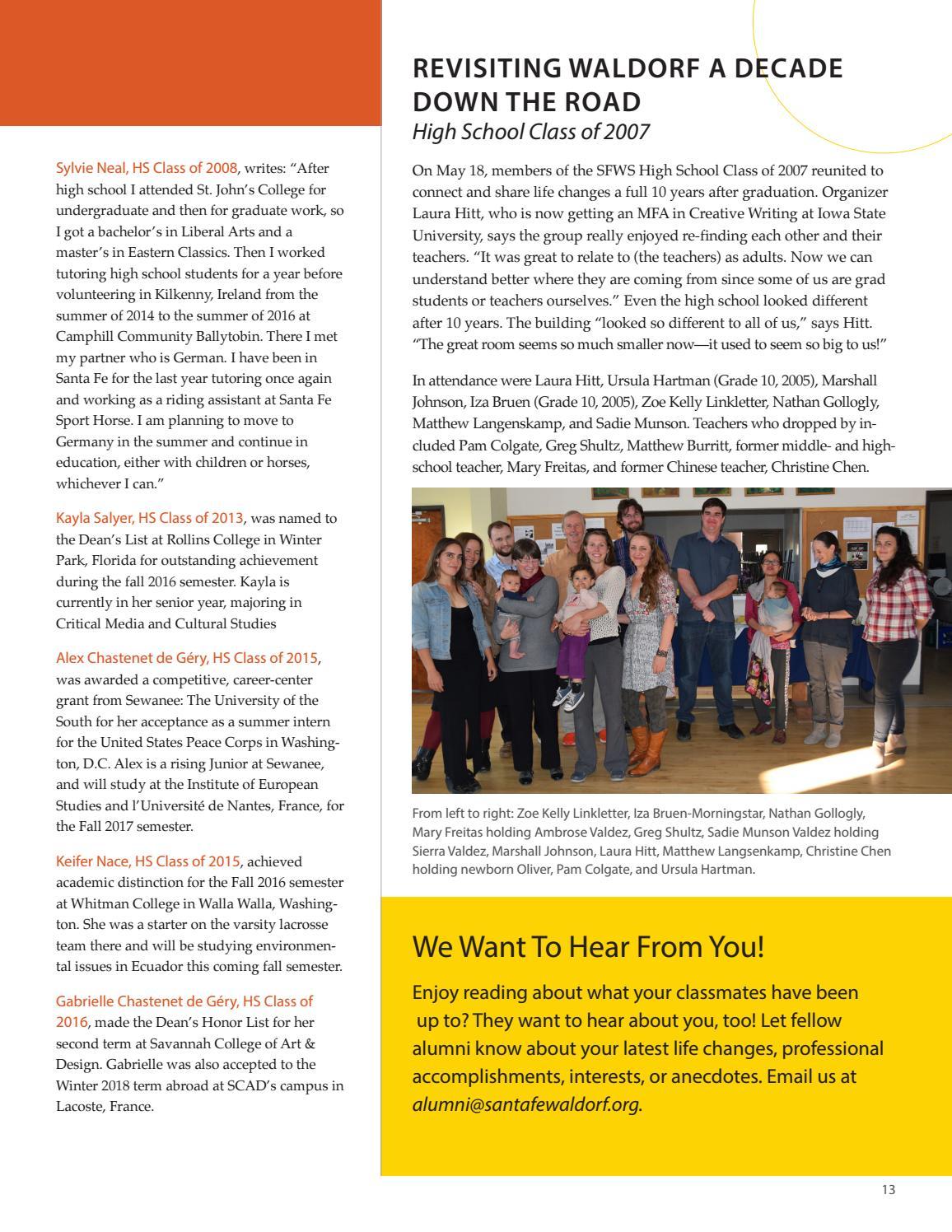 Santa Fe Waldorf School Alumni Magazine Summer 2017 by Santa