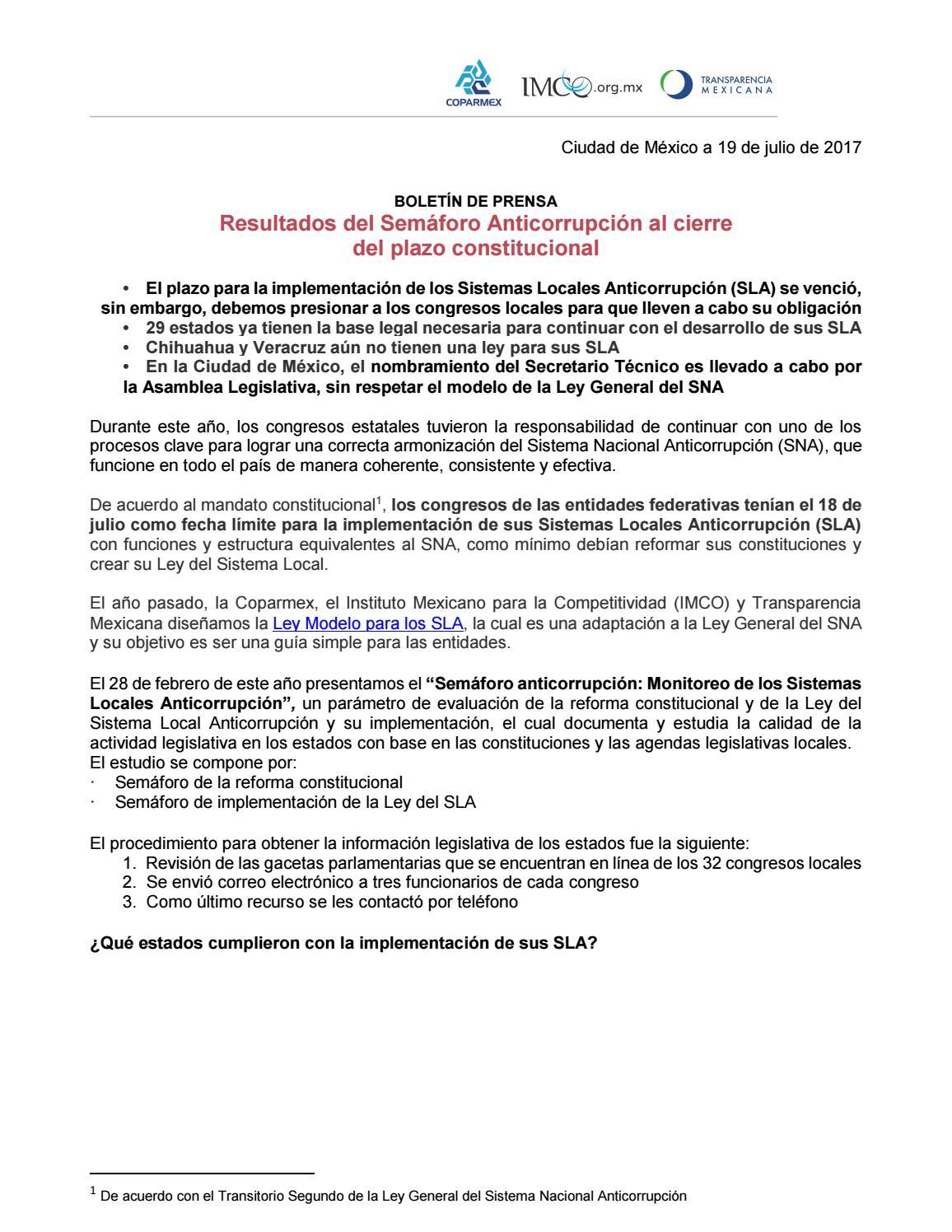 Semáforo Anticorrupción Se Vence Plazo Constitucional By