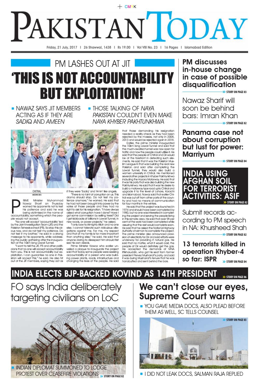 E paper pdf (21 07 2017) (isb) by Pakistan Today - issuu