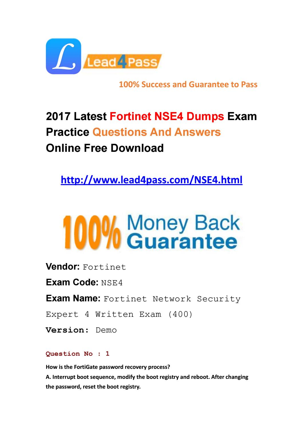 Latest fortinet nse4 dumps pdf by latest-lead4pass-dumps - issuu