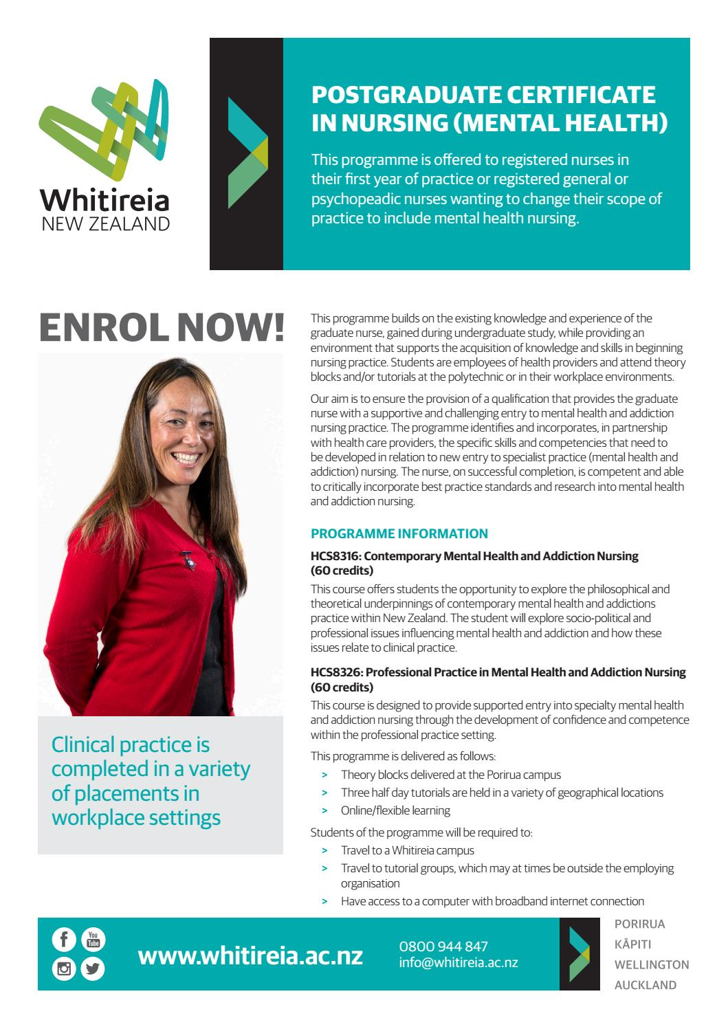 Postgraduate Certificate In Nursing Mental Health By Whitireia New