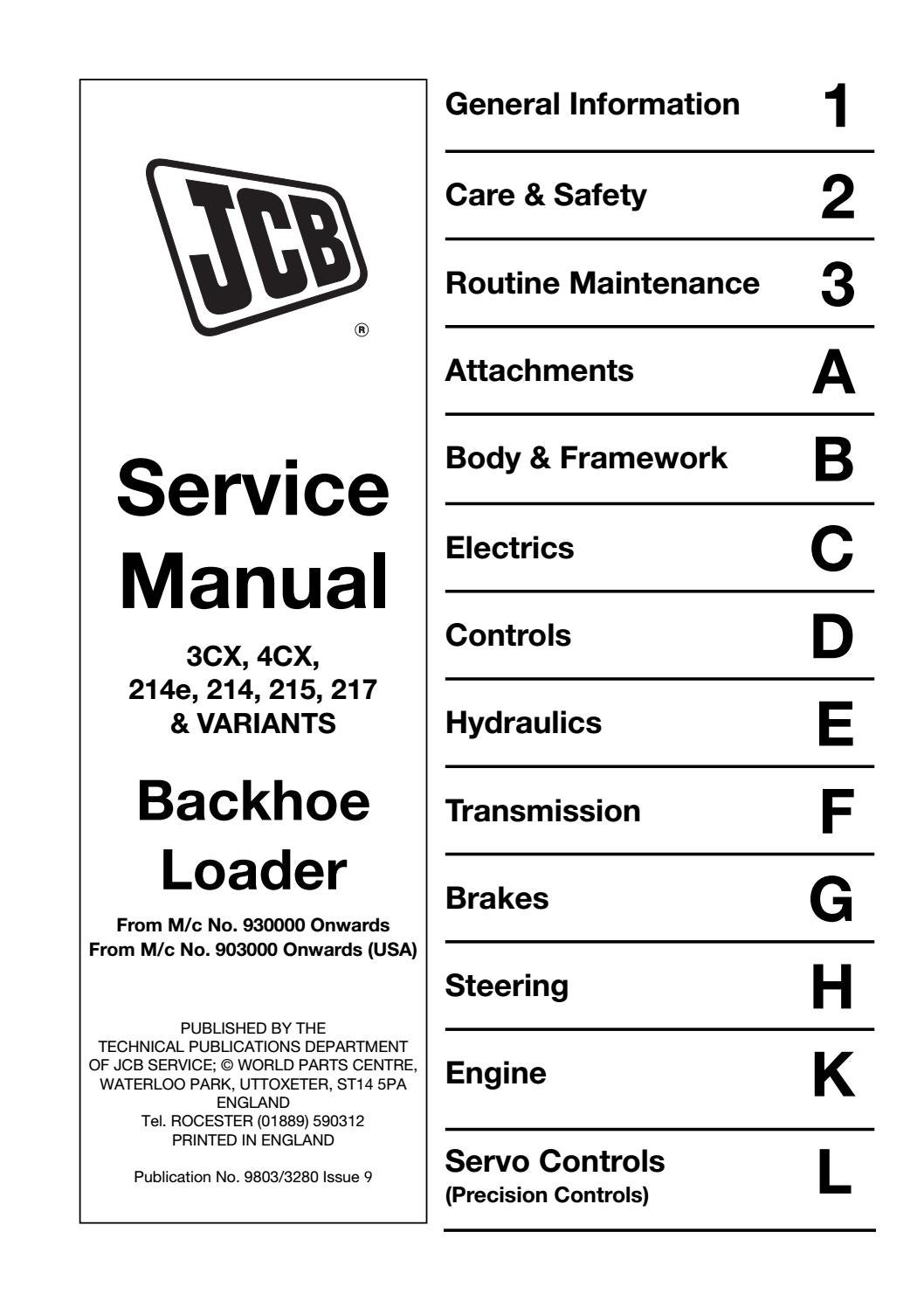 Jcb 3cx 4cx backhoe loader service repair manual sn(930001