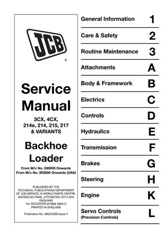 Jcb 3cx 4cx backhoe loader service repair manual sn(930001 ... Jcb Cx Wiring Diagram on