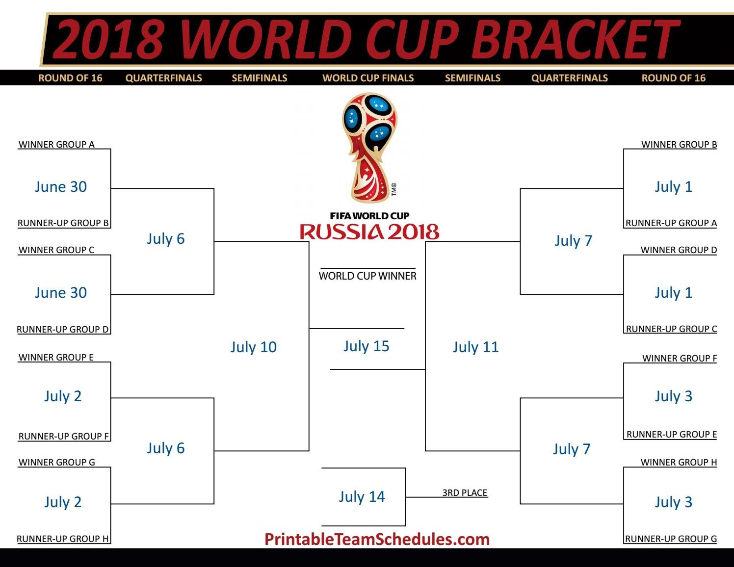 Fifa World Cup Bracket 2018 By Printteamschedules Issuu