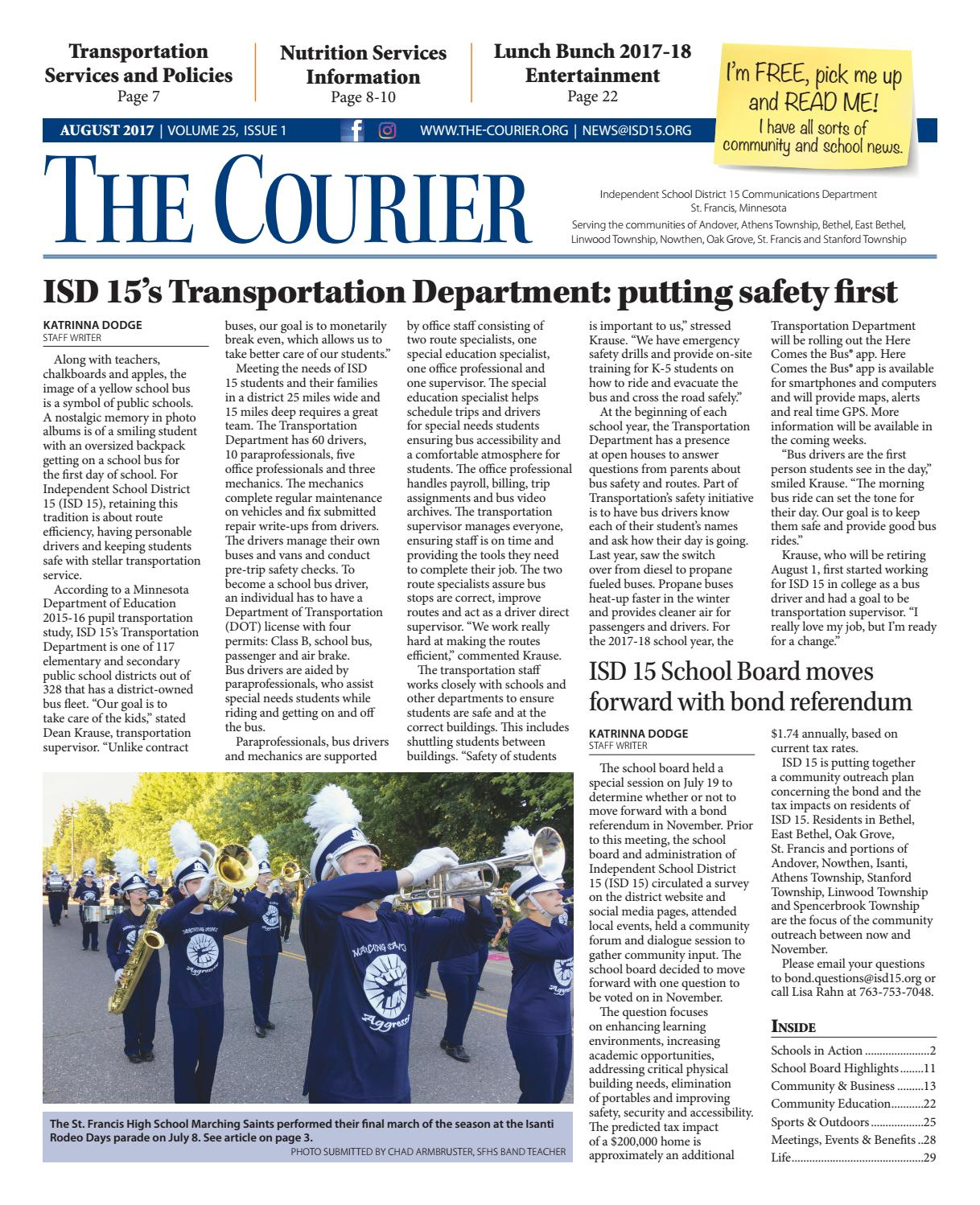 adc3e9ca23 The Courier - August 2017 by St. Francis Area Schools - issuu