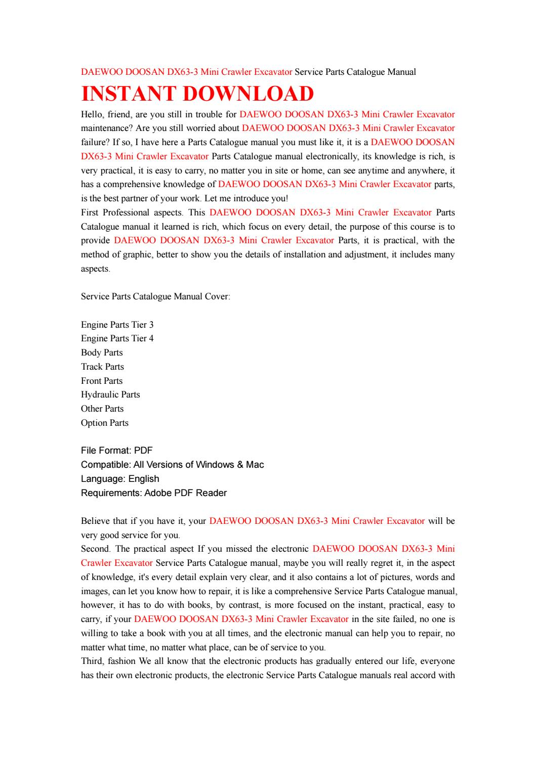Daewoo doosan dx63 3 mini crawler excavator service parts catalogue manual  by MJFMMSMMFdd - issuu