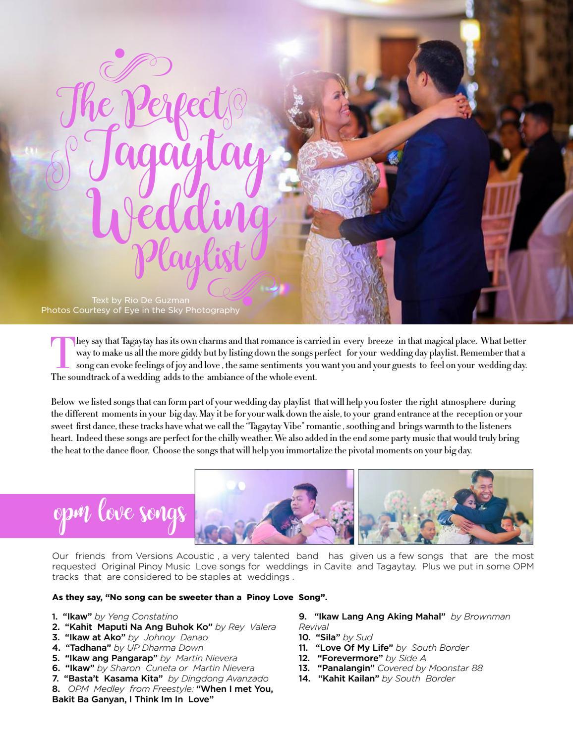 Wedding Playlist 2017.Weddings Tagaytay Vol 3 Issue 1 July 2017 2019 By Weddings