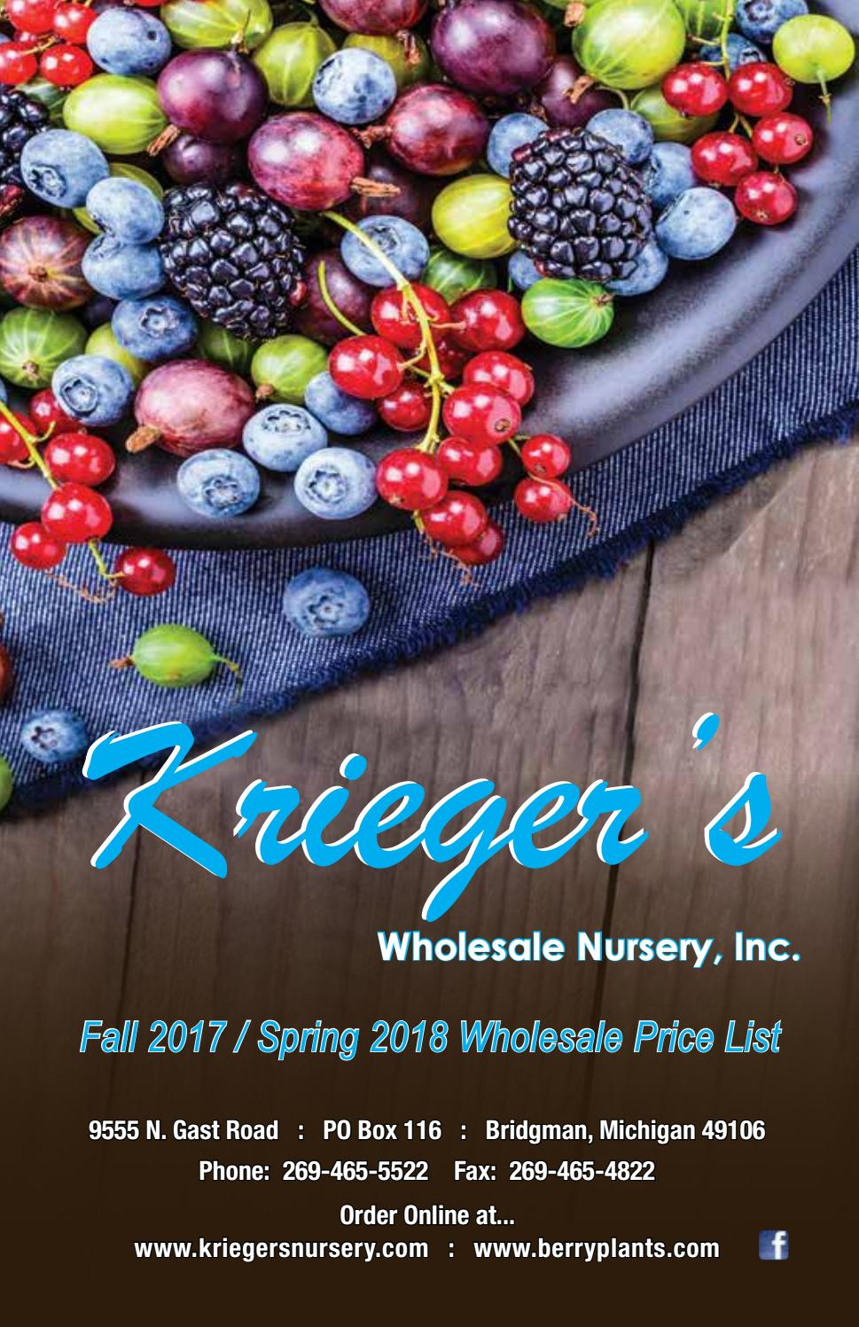Krieger S Whole Nursery Inc Fall 2017 Spring 2018 By