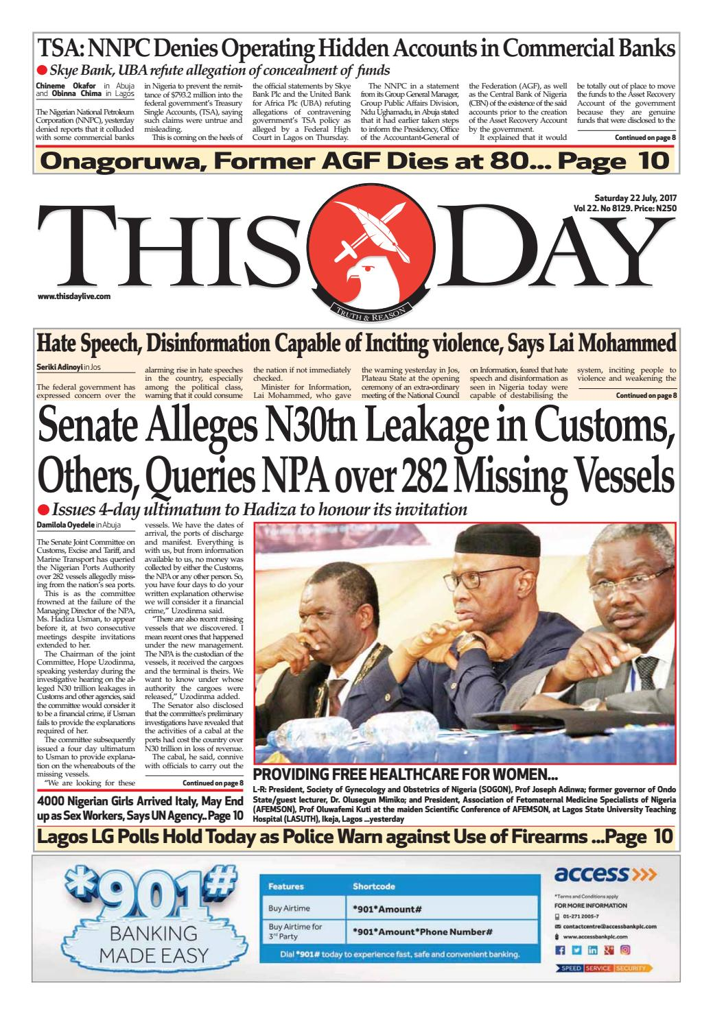 Saturday 22nd July 2017 By Thisday Newspapers Ltd Issuu Schematic Muscle Stimulator Or Zapper Tens Isaac Blog