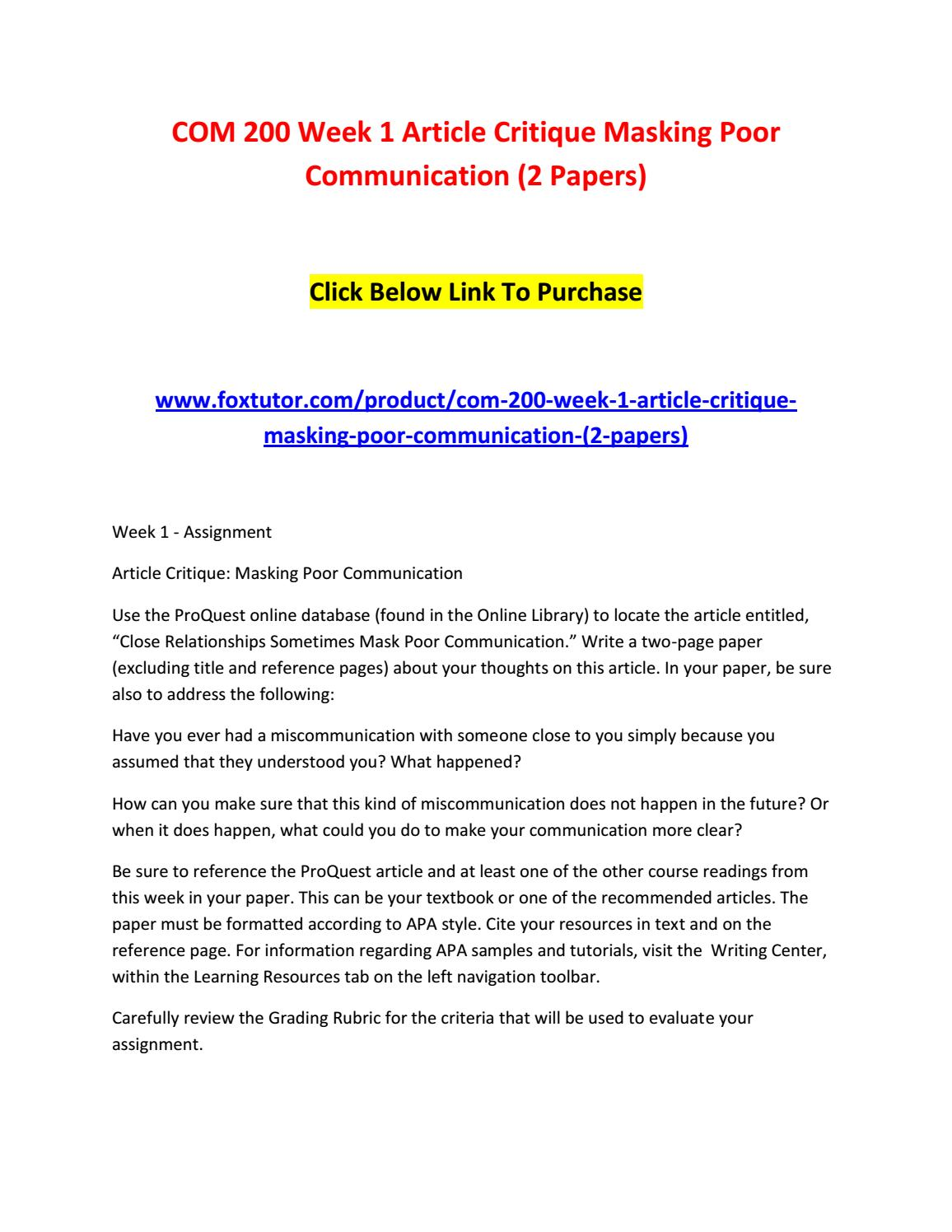 article critique masking poor communication essay Article critique: masking poor communication after reading this article close relationship sometimes mask poor communication it bring up a lot of important questions that most people never consider in their daily communication.