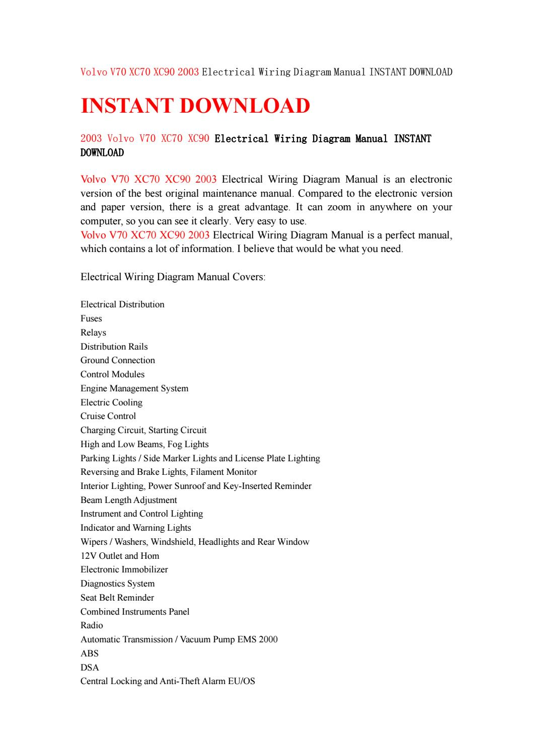 Volvo v70 xc70 xc90 2003 electrical wiring diagram manual instant download  by MJFMMSMMFdd - issuu