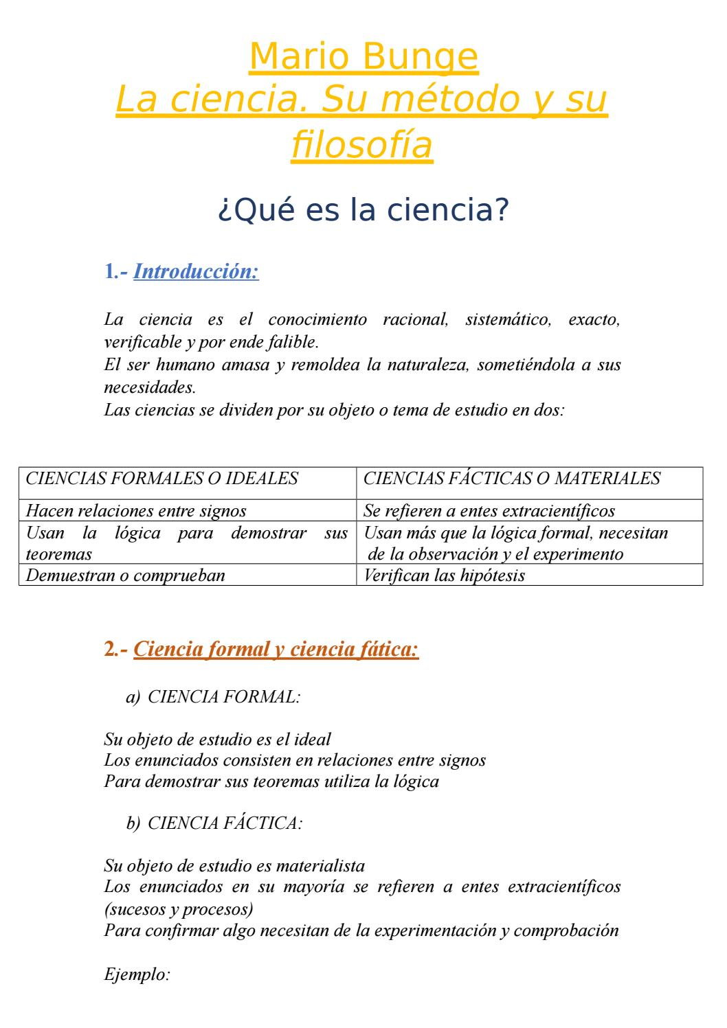 MARIO BUNGE LA CIENCIA,SU MÉTODO Y SU FILOSOFÍA page 1