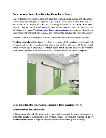 Astounding Best Clean Room Doors By Issoflexsystems Issuu Home Interior And Landscaping Ferensignezvosmurscom
